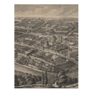 Vintage Pictorial Map of Oxford England (1850) Postcard