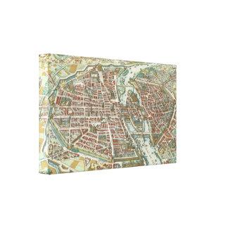 Vintage Pictorial Map of Paris (1615) Canvas Print