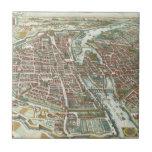 Vintage Pictorial Map of Paris (1615) Ceramic Tile