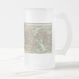 Vintage Pictorial Map of Paris (1615) Frosted Glass Beer Mug