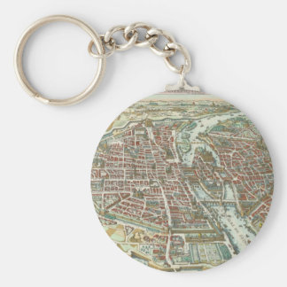 Vintage Pictorial Map of Paris (1615) Keychain