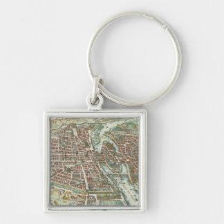 Vintage Pictorial Map of Paris (1615) Keychain