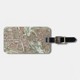Vintage Pictorial Map of Paris (1615) Luggage Tag