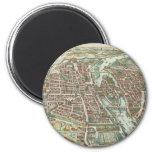 Vintage Pictorial Map of Paris (1615) Fridge Magnet