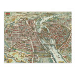 Vintage Pictorial Map of Paris (1615) Post Cards