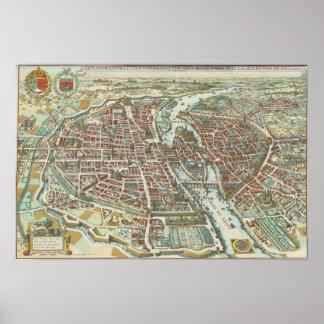 Vintage Pictorial Map of Paris (1615) Poster
