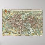 Vintage Pictorial Map of Paris (1615) Print