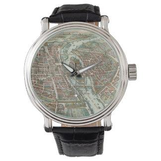 Vintage Pictorial Map of Paris (1615) Wristwatch