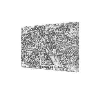 Vintage Pictorial Map of Paris (17th Century) Canvas Print