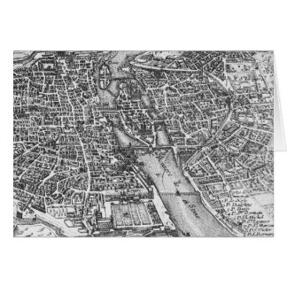 Vintage Pictorial Map of Paris (17th Century) Card