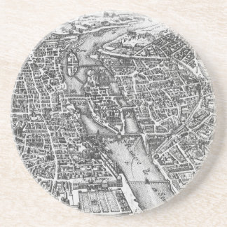Vintage Pictorial Map of Paris (17th Century) Coaster