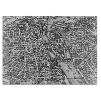 Vintage Pictorial Map of Paris (17th Century) Cutting Board