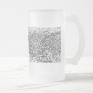 Vintage Pictorial Map of Paris (17th Century) Frosted Glass Beer Mug