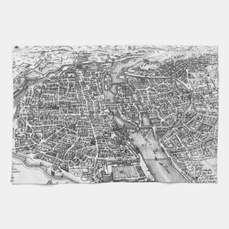 Vintage Pictorial Map of Paris (17th Century) Hand Towel
