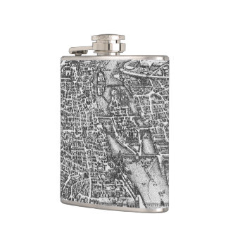 Vintage Pictorial Map of Paris (17th Century) Hip Flask