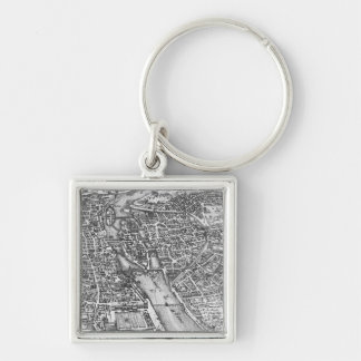 Vintage Pictorial Map of Paris (17th Century) Keychain