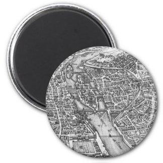 Vintage Pictorial Map of Paris (17th Century) Magnet