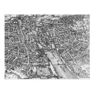 Vintage Pictorial Map of Paris (17th Century) Postcard