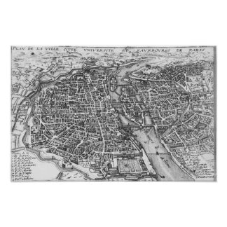Vintage Pictorial Map of Paris (17th Century) Poster