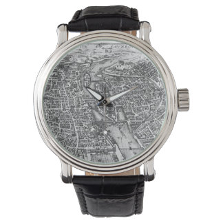 Vintage Pictorial Map of Paris (17th Century) Wrist Watch