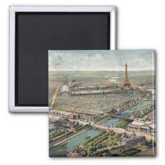 Vintage Pictorial Map of Paris (1900) 2 Inch Square Magnet