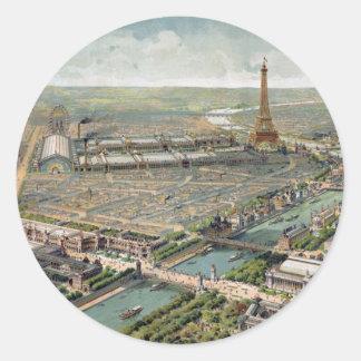 Vintage Pictorial Map of Paris (1900) Classic Round Sticker