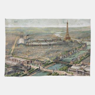 Vintage Pictorial Map of Paris (1900) Kitchen Towel