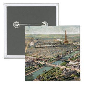 Vintage Pictorial Map of Paris (1900) Pinback Button