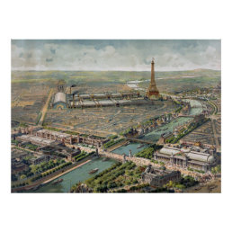 Vintage Pictorial Map of Paris (1900) Poster
