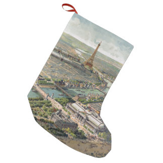 Vintage Pictorial Map of Paris (1900) Small Christmas Stocking