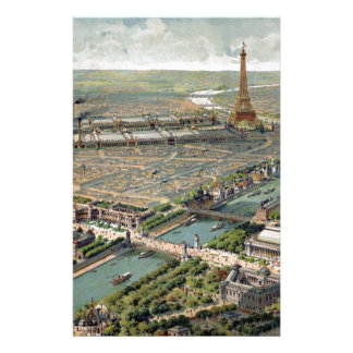 Vintage Pictorial Map of Paris (1900) Stationery