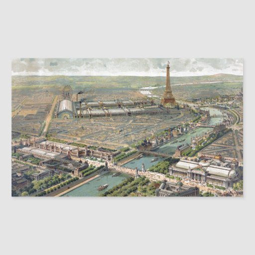 Vintage Pictorial Map of Paris (1900) Rectangle Sticker