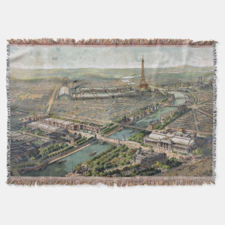 Vintage Pictorial Map of Paris (1900) Throw Blanket