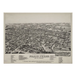 Vintage Pictorial Map of Paris Texas (1885) Poster