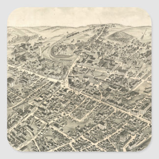 Vintage Pictorial Map of Peabody MA (1877) Square Sticker