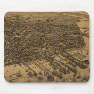 Vintage Pictorial Map of Pensacola (1885) Mouse Pad