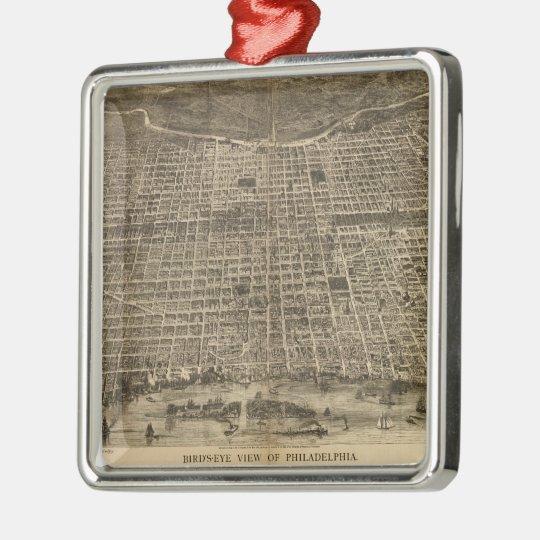 Vintage Pictorial Map of Philadelphia (1872) Metal Ornament