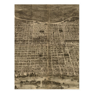Vintage Pictorial Map of Philadelphia (1872) Post Cards