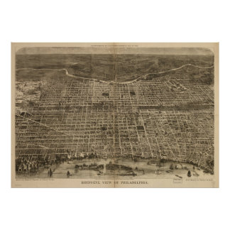 Vintage Pictorial Map of Philadelphia (1872) Poster