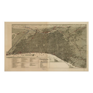 Vintage Pictorial Map of Philadelphia PA (1888) Poster