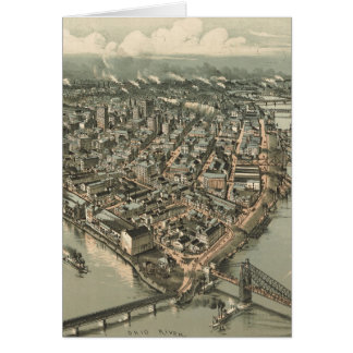 Vintage Pictorial Map of Pittsburgh 1902 Greeting Card