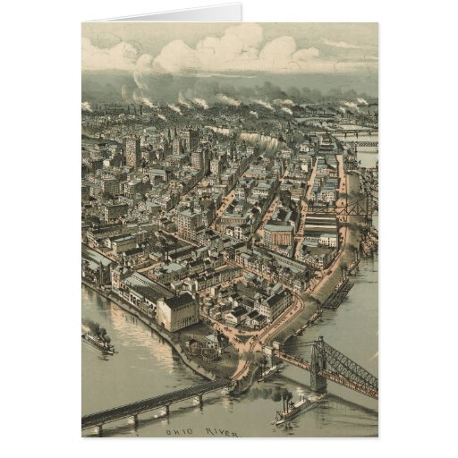 Vintage Pictorial Map of Pittsburgh (1902) Greeting Card