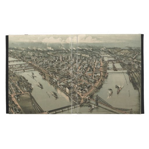 Vintage Pictorial Map of Pittsburgh (1902) iPad Folio Cover