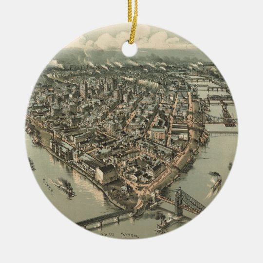 Vintage Pictorial Map of Pittsburgh (1902) Ceramic Ornament