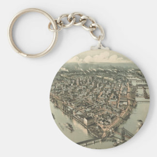 Vintage Pictorial Map of Pittsburgh (1902) Keychain