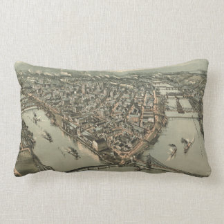 Vintage Pictorial Map of Pittsburgh (1902) Throw Pillow