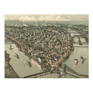 Vintage Pictorial Map of Pittsburgh (1902) Postcard