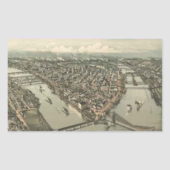 Vintage Pictorial Map of Pittsburgh (1902) Rectangular Sticker