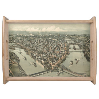 Vintage Pictorial Map of Pittsburgh (1902) Serving Tray