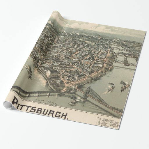 Vintage Pictorial Map of Pittsburgh (1902) Wrapping Paper